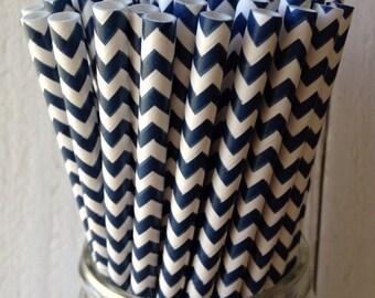 50 Navy Chevron Paper Straws Printable