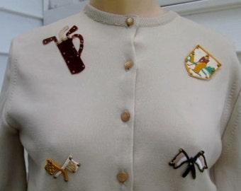 PINEHURST Vintage 1950s Novelty GOLF Cardigan Sweater S Beaded
