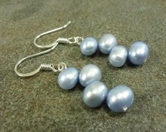 Baby Blue Dancing Pearl Earrings Freshwater
