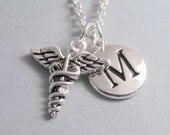 Medical Symbol Necklace, Medical Symbol Charm, Medical Keychain, Silver Plated Charm, Initial, Personalized, Monogram