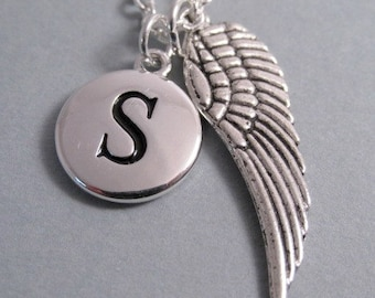 Angel Wing Necklace, Angel Wing Charm,Guardian Angel, Antique Silver, Silver Plated Charm, Angel Wing Keychain, Personalized, Monogram