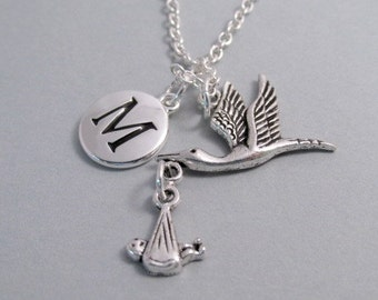 Stork with Baby Charm Silver Plated Stork Charm Stork Charm Supplies