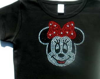 2T 3T 4T 5T 6/6X Red Minnie Mouse Face rhinestone short or long sleeve black t-shirt for Disney costume