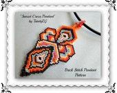 BP-PEN-001 - Sunset Cross Pendant - Brick stitch Beadwork Pattern, seed bead jewelry, beadweaving tutorial, beaded pendant, pendant pattern