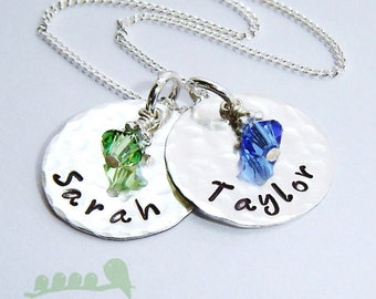 Personalized hand stamped necklace...sterling silver kid's name charm - medium discs HAMMERED