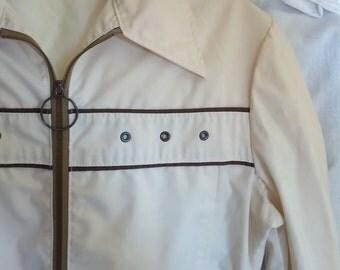 o ring zipper pull jacket 1970s bone ivory windbreaker Woolrich seventies