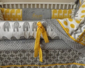 boy Baby bedding Crib set Gray and Yellow elephant  full set