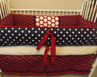 Navy and REd chevron  Baby bedding Crib set DEPOSIT