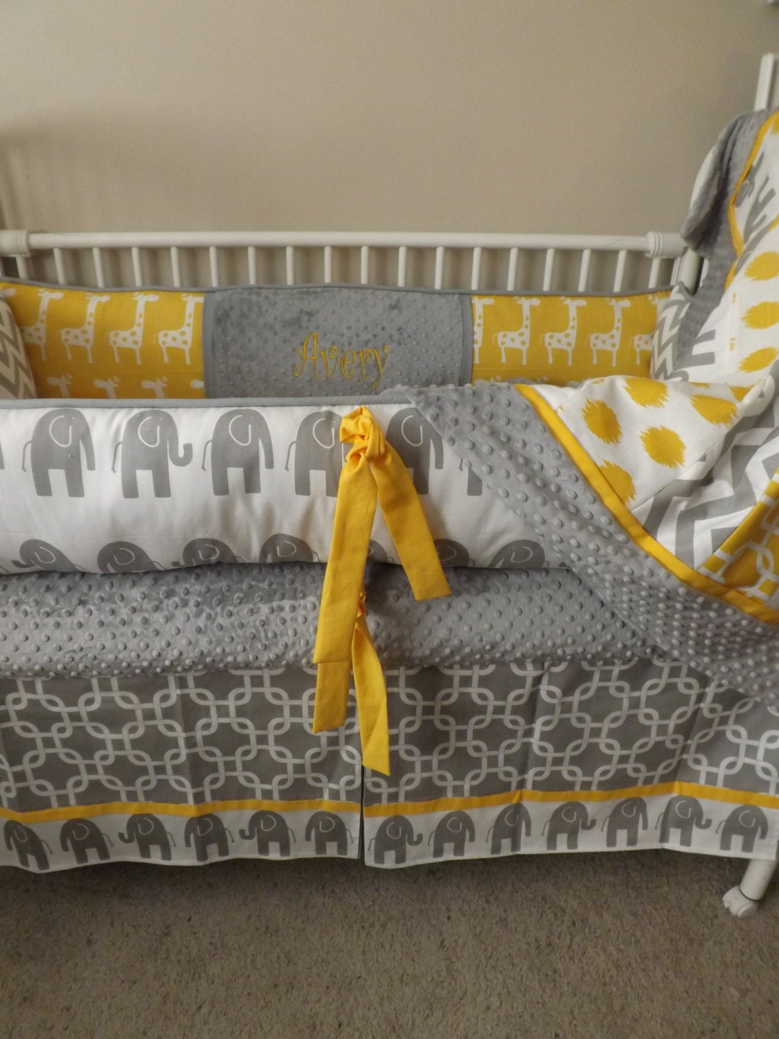 Leigh Gender Neutral 10pc Owl Baby Crib Bedding Set Grey Yellow Green