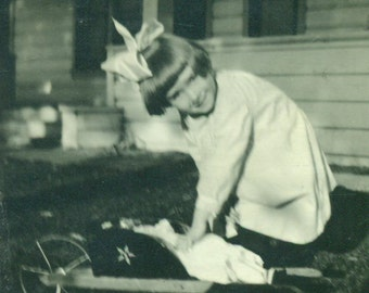 Girl With Doll in Toy Wheelbarrow Outside Antique Vintage Black White Photo Photograph