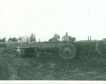 Working Man Driving John Deere Tractor Farm Farmer 1953 Vintage Photo Black and White Photograph