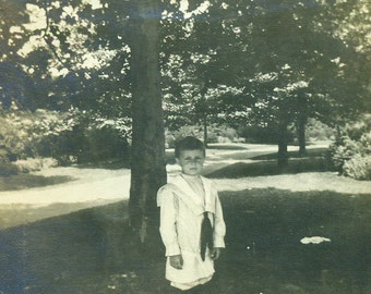 Little Sailor Suit Victorian Boy Standing Under Tree Summer Antique Black and White Photo Photograph