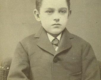 Robert MacLardy Little Boy CDV Philadelphia PA Antique Vintage Black White Photo Photograph