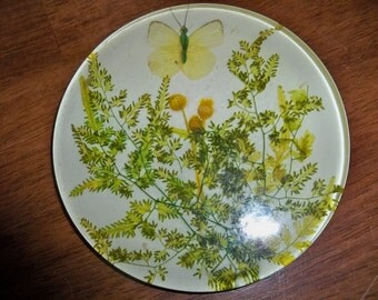 into nature Lucite trivet butterfly garden