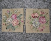 2 Vintage Pre-worked Needle Point Canvases - floral bouquets