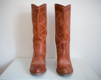 Vintage Romania Brown Leather Western Riding Boots Size 9 US