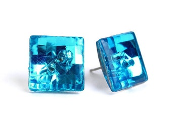 Vintage Earrings turquoise blue disco mosaic square button studs posts READY to ship (478) - Flat rate shipping
