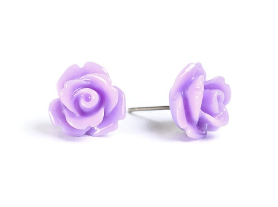 Lavender purple  rosebud flower surgical steel hypoallergenic stud earrings (450) - Flat rate shipping