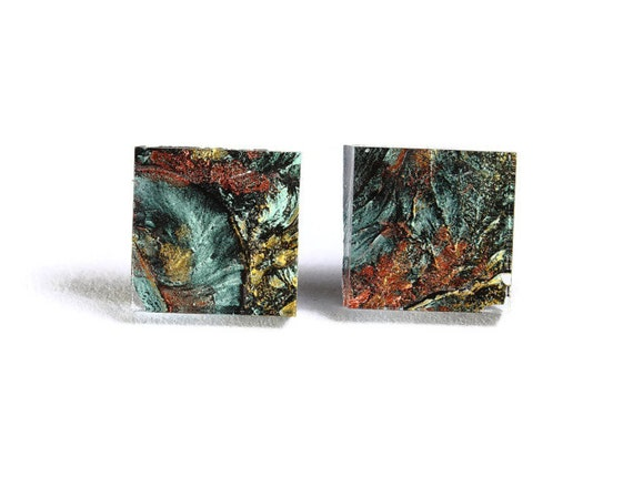 Green copper gold glass square stud post earrings (708)