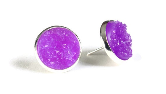 Silver and purple textured stud earrings - Faux Druzy earrings - Post earrings - Nickel free earrings (805)