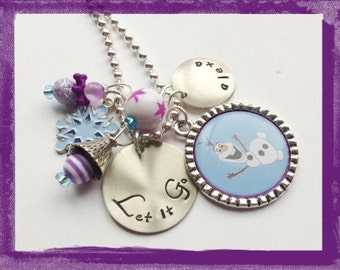 LET IT GO - Personalized Necklace - Snowman Hand Stamped Charm -Jewelry for Girls #b28