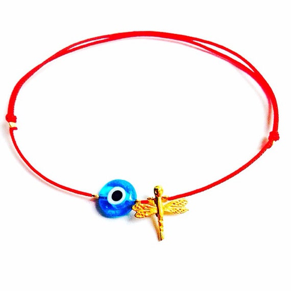 Naz Trendy String Red String Gold Plated OR Silver Plated  Dragonfly Evil Eye Bracelet