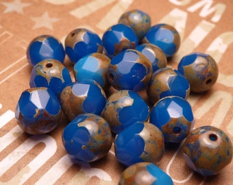 Royal Blue Picasso Faceted Glass Beads 8pc