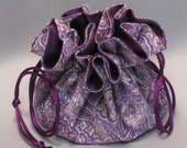 Purple Paisley--Jewelry Drawstring Travel Tote--Organizer Pouch--Medium Size