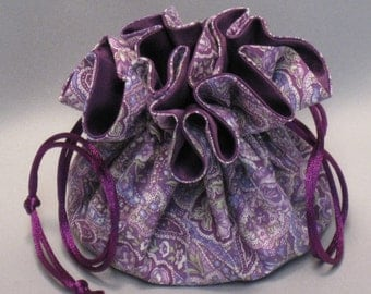 Jewelry Tote--Drawstring Organizer Travel Pouch--Purple Paisey---Medium Size