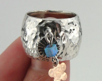 New Woman Israel Handmade 925 Silver Blue Opal wide band Ring decorated small gold flower. (r 10312)