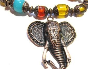 2 Lg Elephant pendants antique copper  necklace focals 45mm x 56mm  A240 bo  copper elephant charms