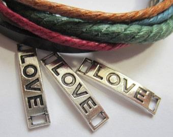 10 Silver love connectors bracelet charms sideway love charm 28mm x 6mm  83291 no lead no nickel (DD5)