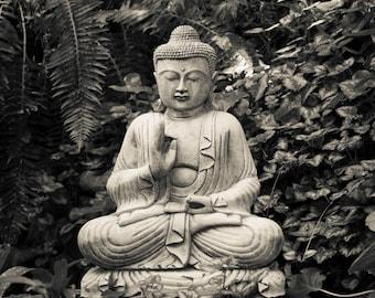 Buddhism Photograph, Buddha Photo Japanese Garden Zen Buddhist Meditation Black White Yoga Wall Art oth50bw