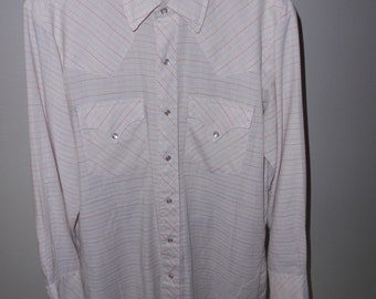 Cowboy Shirt - Western Shirt- Tan w/Checkered Pattern- Size M-L