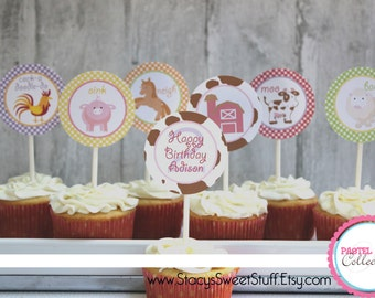 Farm Animal Cupcake Toppers, Pastel, DIY, Printable