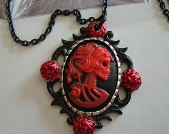 Skeleton Necklace, Gothic Dark Jewelry, Lady Bella Bloody Rose Cameo, Skeleton Mistress Pendant with Black Chain, Handmade, USA Ship, Custom