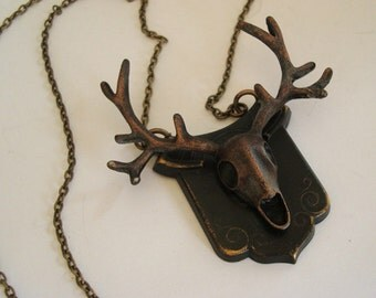 Skull, Gothic Deer Skull with Horns Necklace, Animal Skull, Long Antlers, Mounted Deer Skeleton Head, Hand USA Made