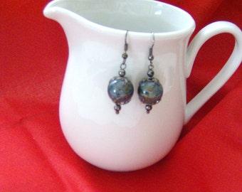 Blue Ceramic Earrings.