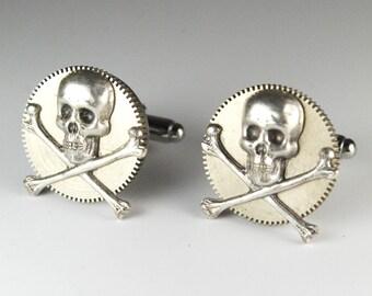 Steampunk Cufflinks Gothic Skull and Gear Cuff Links by Steampunk Vintage Design