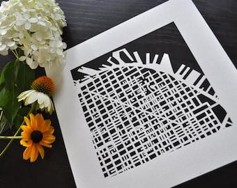 San Francisco, Portland, Seattle, San Diego, or Coronado hand cut map, 10x10