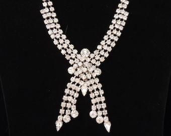 Vintage ART DECO Rhinestone Necklace / Cascading Rhinestone Necklace / wedding Necklace / Wedding Jewelry / Bridal Necklace