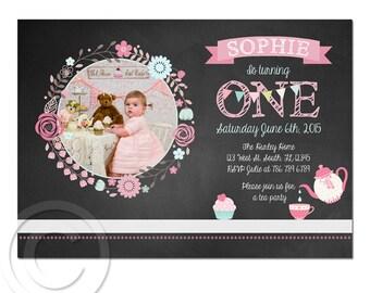 Printable custom Birthday Chalk Board invitation DIGITAL file little girl cake 5x7