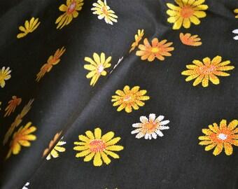 Vintage Fabric - Yellow Orange Daisies on Black - 36 x 35