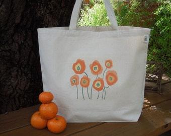 Natural cotton market tote - Large canvas tote - Posing poppies - Printed canvas bag - Orange poppies reusable shopping bag -