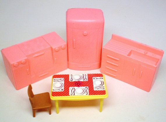 Vintage Miniature Dollhouse Furniture Kitchen Pink Refrigerator Stove Sink Yellow Table Setting and Tan Chair Minitures Accessories
