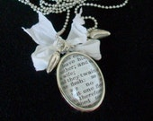 Wedding necklace Marriage scripture verse locket Silver frame pendant Ball chain 2 Heart charms White bow
