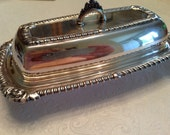 Silver plated pilgrim butter dish, silver plated  serving dish, silver plated dinnerware, shabby chic silver plated butter dish