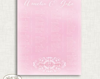 Pink watercolor seating chart