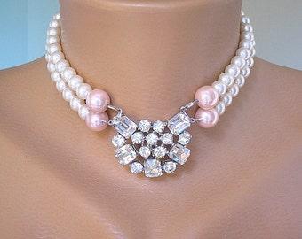 GATSBY JEWELRY, Pearl Bridal Necklace, Swarovski Elements Pearl Choker, Wedding Jewelry, Bridal Accessories, Pearl And Rhinestone Choker