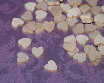 "25 Mini Hearts ... 1/2"" (13mm) Wooden Hearts Wedding Decor Table Scatter Confetti Natural Wood Unfinished DIY Wedding Valentine Hearts Love"